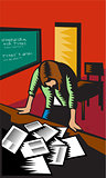 Depressed Female School Teacher Classroom Woodcut