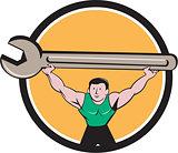 Mechanic Lifting Giant Spanner Wrench Circle Cartoon