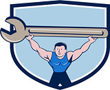 Mechanic Lifting Giant Spanner Wrench Crest Cartoon
