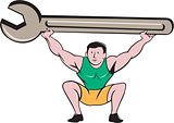 Mechanic Lifting Giant Spanner Wrench Cartoon