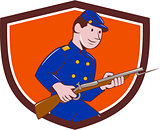 Union Army Soldier Bayonet Rifle Crest Cartoon
