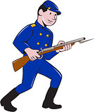 Union Army Soldier Bayonet Rifle Cartoon