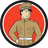World War One British Officer Standing Circle Cartoon