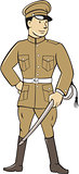 World War One British Officer Sword Standing Cartoon
