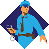 Policeman Handcuffs Diamond Retro