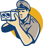 Policeman Speed Camera Circle Retro