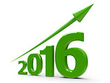 Green arrow up with 2016
