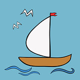Sailboat Icon. Original Illustration