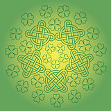 St Patrick s day background with knot ornament and clover.