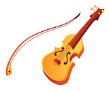 Funny cartoon violin vector
