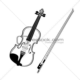 Sketch of violin isolated on white background.