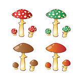 Set of mushroom family.
