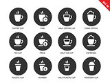 Coffee cup icons on white background