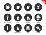 Beer and beverage icons on white background