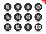 Fingerprint icons on white background