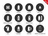 Condoms icons on white background