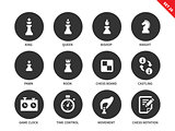 Chess figures icons on white background