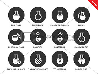 Flask icons on white background