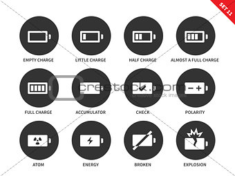 Battery charge levels icons on white background