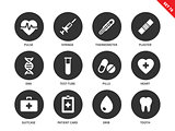 Medical icons on white background