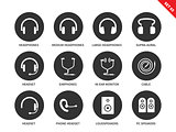 Headphones icons on white background