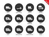 Trucks icons on white background