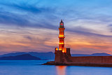 Lighthouse at sunset, Chania, Crete, Greece