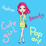 Pop Art cute fashion girl