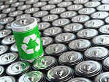 Battery recycling concept. Green energy, Background from battari