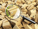 Delivery, shipping, logistics concept. Cardboard box tracking se