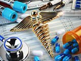 Healthcare medical concept. Pills, capsules, stethoscope, syring