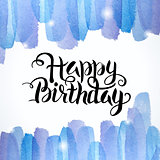 Happy Birthday Lettering Abstract Watercolor Colorful Background
