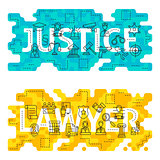 Justice Lawyer Outline Flat Concept