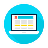 Laptop Landing Page Flat Circle Icon