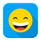 Laugh Yellow Smiley Face Flat App Icon