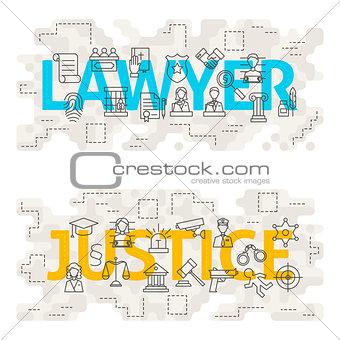 Lawyer Justice Line Art Concept