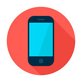 Mobile Phone Flat Circle Icon