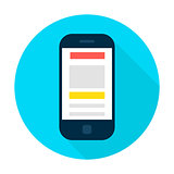 Mobile Phone Landing Page Flat Circle Icon