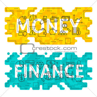 Money Finance Outline Flat Concept