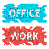 Office Work Outline Flat Concept