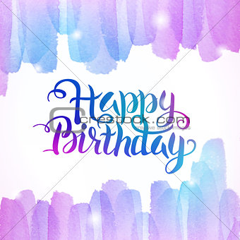Watercolor Colorful Happy Birthday Lettering Background