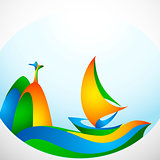 Sign sailing boat with symbol in colors of the Brazilian flag