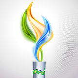 Torch with flame in colors of the Brazilian flag