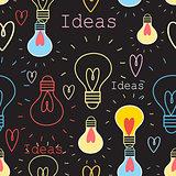 Seamless pattern with light bulbs