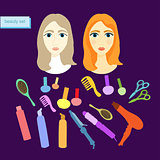 set of beauty for women in purple. vector illustration