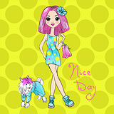 Vector Pop Art cute fashion girl with dog