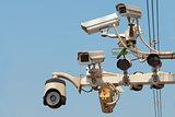 CCTV, CCTV system, Street CCTV, Traffic security, blue sky background