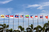 National flags of countries who are member of AEC (ASEAN economic community)