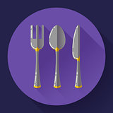 knife, fork and spoon icon. Flat design style.