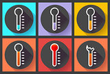 Thermometer icon set, High temperature symbol vector. Flat designed style.